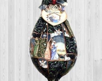 Peace on earth, shopping bag holder, holiday decoration, kitchen storage, Christmas gift, holiday gift, whimsical kitchen decor, manger