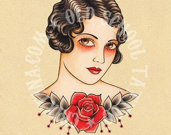 Vintage woman. Old School Tattoo print.