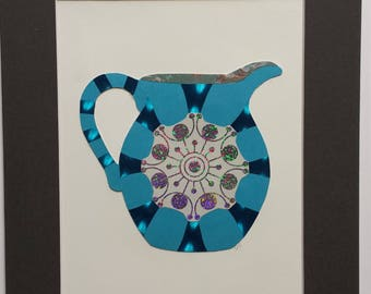 Original paper collage matted for hanging – Pitchers & Bowls Series #13
