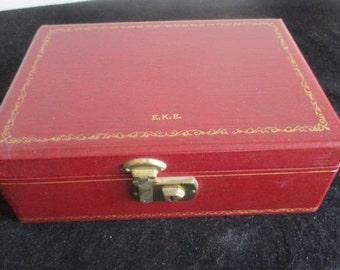 Vintage Reddish Brown Faux Leather 2-Tier Jewelry Box 26 cm x 18 cm x 9cm