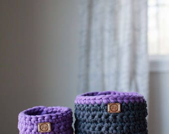 Crocheted t-shirt yarn baskets, set of 2