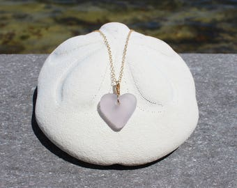 lavender seaglass heart necklace lilac seaglass necklace seaglass heart necklace gold seaglass necklace beach glass rare sea glass ocean sea