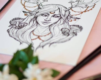 Fawn Girl Gold Embellished Ink Drawing Art Print