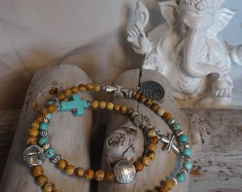 ASHOKAS Bracelet double tour, Femme, perles semi-précieuses, 4mm, Jasper et Turquoise. Motif Croix.
