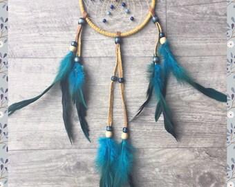 dream catcher natural native american beige and blue  dreamcatcher