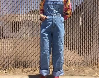 Vintage light medium wash denim jean overalls / overall pants, size large l