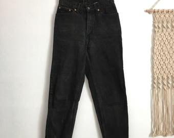 Vintage Levis 512 black high waisted jeans, raw hem jeans, size 27