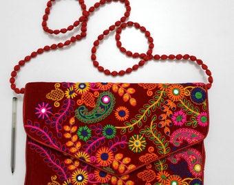 Handmade Ethnic Designer Tribal Banjara Patchwork Embroidered Hippy Fashionable Stylish Trendy Hippie Gypsy Boho Bohemian Clutch Bag F288