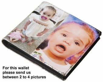 MEDIUM custom wallet for men with your pictures printed - FREE SHIPPING, gift gifts for dad boyfriend man custom images from me personalized