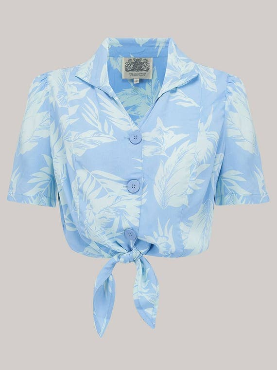 1940s Blouses and Tops 1940s Inspired Marilyn Tie Shirt in Blue Hawaii Print by The Seamstress of Bloomsbury $52.00 AT vintagedancer.com