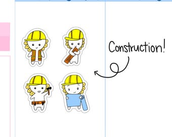 Construction Worker| Construction Tracker| House Tracker| Renovations Tracker| Mini's Work Planner Stickers (M13)