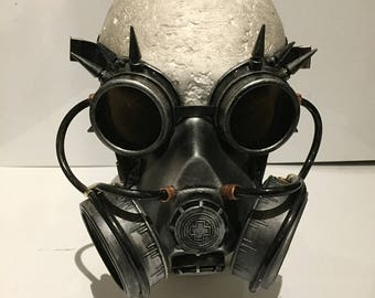 Steampunk Respirator Gas Mask And Spikey Goggles, Post Apocalyptic Survival, Mad Max, Burning Man Wasteland Style