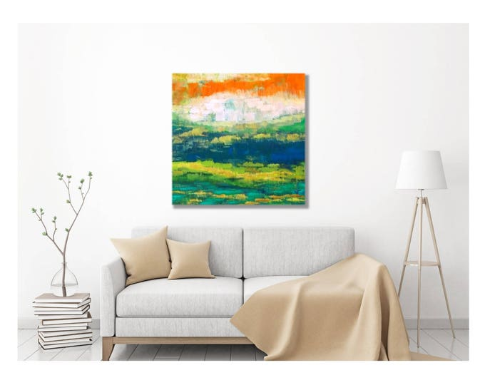 Original Art Canvas Wrap -- Landscape, Southwestern, Arizona, Tuscon, Phoenix, Desert, Artwork, Warm Colors, Cobalt, Farmhouse, Kitchen Art