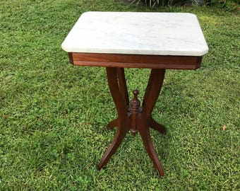 Victorian Marble Top Table Hand Made, Clear Unspotted Marble, Antique  Marble Table