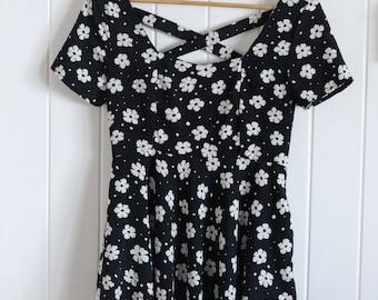 Daisy, black and white dress, cross back, skater, short sleeve