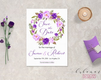 Purple Wedding Save the Date Invitation Boho Lilac Floral Printable Save the Date Invite Lavender Fall Wedding Invite Spring Invite - SD036