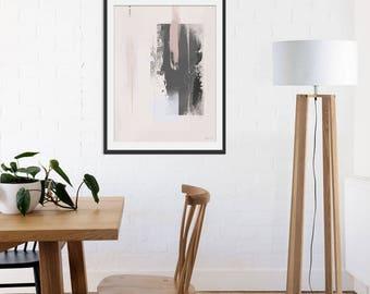 Abstract Print. Abstract Art. Grey Art. Pink Art. Blush Pink Abstract Picture. Minimal Grey Wall Art.