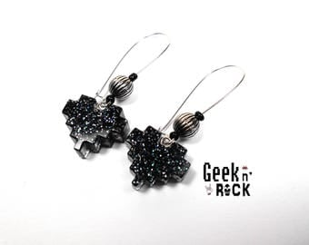 Geeky black glitter pixel heart earrings