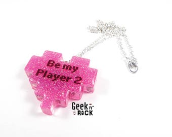 Geek necklace - Be my player two pixel heart gamer geek wedding engagement marriage proposal