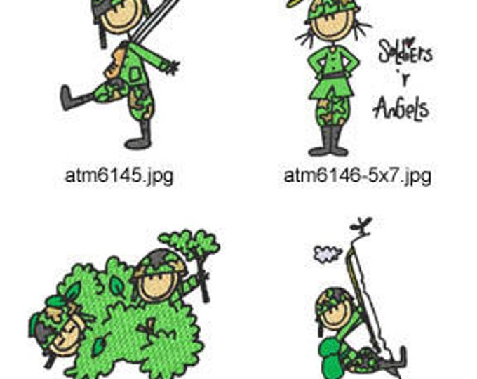 A Kids VIew Army  ( 7 Machine Embroidery Designs for 4x4 hoop from ATW )