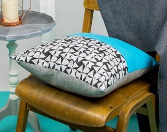 Monochrome and Sky Blue Cushion