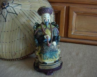 Chinese Emperor Hand Painted Resin Figurine Statue