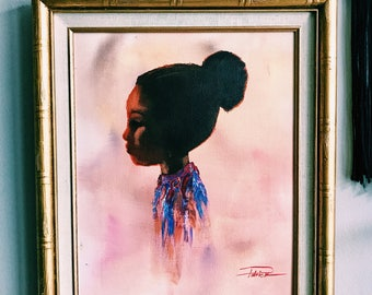 """Vintage 20"""" Framed Oil Painting of Little Girl Silhouette w/ Gold Faux Bamboo Frame"""