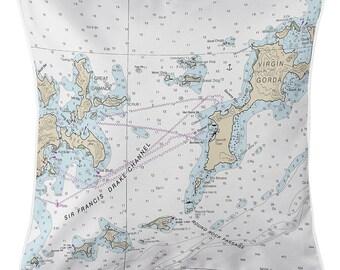 BVI: Virgin Gorda, BVI Nautical Chart Pillow, Nautical Pillow, Map Pillow, Coastal Pillow, British Virgin Islands Pillow