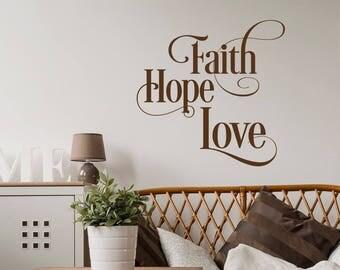 Beautiful Faith Hope Love Wall Decal  Inspirational Wall Decal Quote  Scripture Wall  Decal  Home Part 13