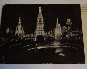 night scene of luna park coney island postcard