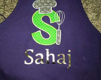 Personalized kids apron, Boys,  Monogram Appliqué- chefs hat and whisk