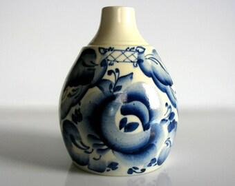 "Vintage Delfts Hand Painted Bud Vase / Blue & White / Mid Century / Artist Signed / Floral / Ceramic Vase / Pottery Vase / Cacoon Vase / 5"""