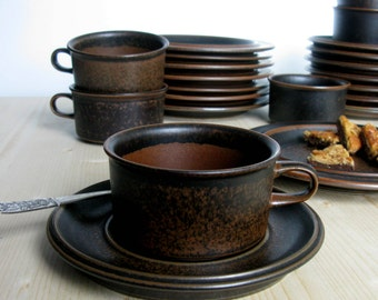 70s / Arabia / Finland / Ruska / 3 Pieces Tea Set / Tea Cup Saucer & Side Plate/ Coffee Cup / Modern / Ulla Procopé Design/ 8 Sets Available