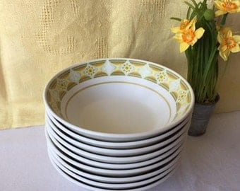 Noritake Sunglow Cereal Soup Bowls, Retro 1970s Dishes, Yellow Geometric Platter