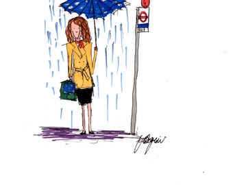 Waiting for the Bus in the rain