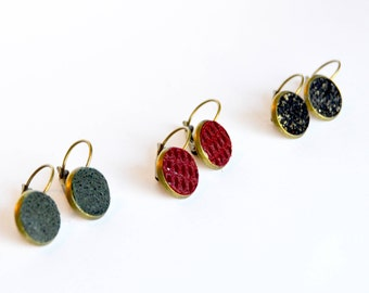 Small Holiday Leather Earrings  // Leather Stud Earrings or Lever Back Earrings // Your Choice of Color // Leafy Treetop Leather
