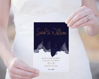 No. 10 | 5 x 7 Invitation | Navy | Editable and Printable | DIY | Wedding, Party or Reception | Word Template