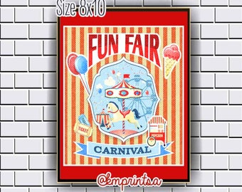 Fun Fair, Carnival, Poster, decor,wall art