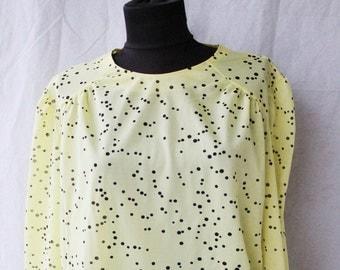 Polka Dot Blouse Elegant Blouse Buttoned Long Yellow Blouse Romantic Office Wear Vintage Streetstyle Top 1990s Clothes Women Shirt Retro