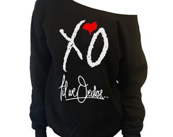 The Weeknd Clothing Inspired XO Oversized Slouchy Off Shoulder Sweatshirt - Xo Til We Overdose Shirt Off-Shoulder Sweater