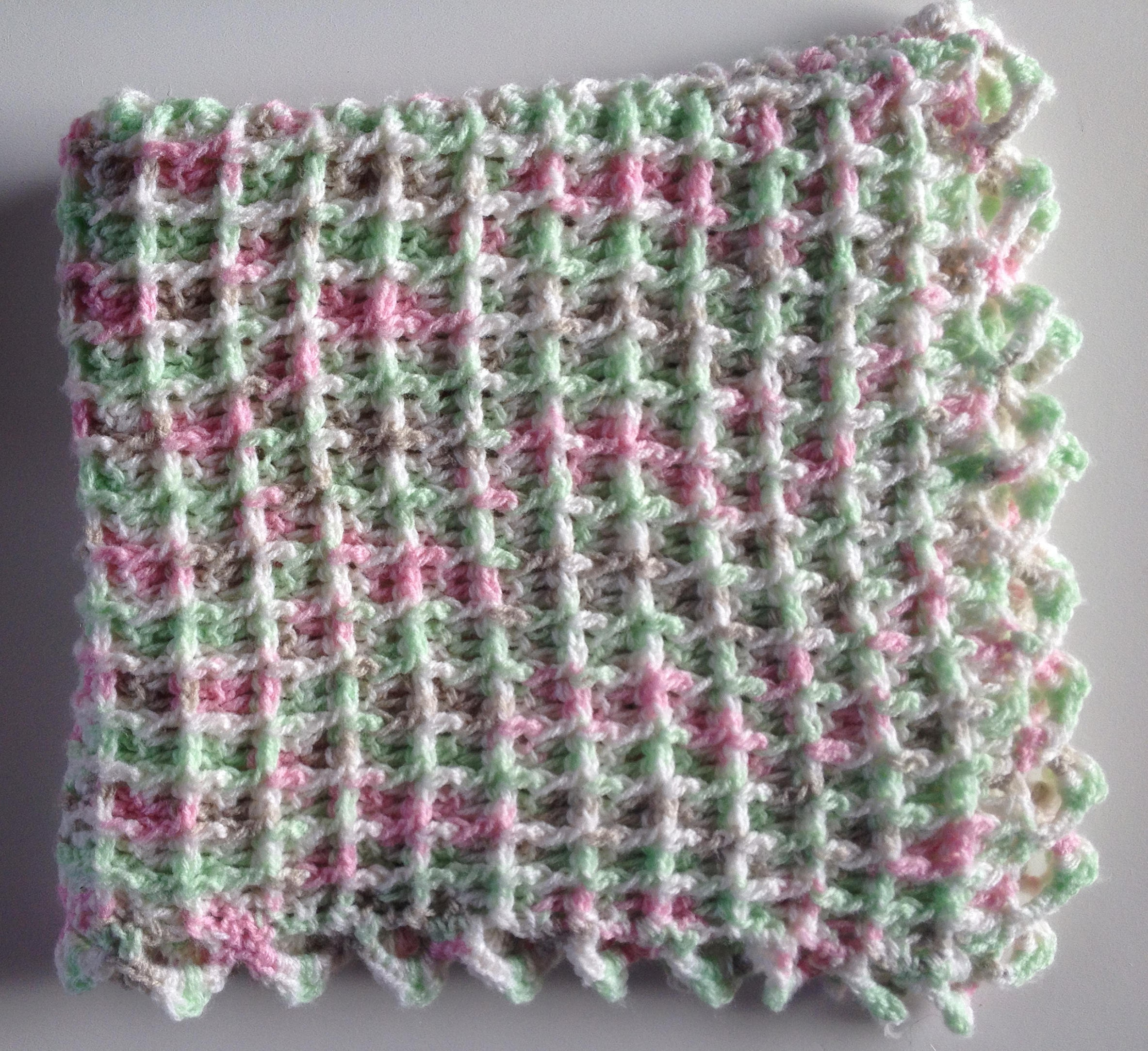 Crochet baby afghan - white, green, pink, beige car seat cover ...