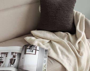 Knitted Pillow - Modern Knitted Cushion - Knit Pillow - Cotton Decorative Pillow - Dark Grey Pillow - Home Decor - Hygge - Scandinavian