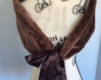 Vintage stole faux fur brown