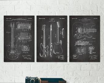 Electric Guitar Decor, Vintage Guitar Art Print, Gibson Guitar Gift, Gift for Guitar Player Gift, Music Room Art Decor, Fender Poster S033