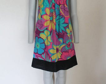 Colorful Floral Print Summer Cotton Sleeveless Dress Black Blue Yellow Purple Pink Medium Size