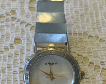 Unusual Vintage Quartz Watch with Mother of Pearl Face and Band