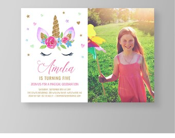 Unicorn Birthday Invitation, INSTANT DOWNLOAD, Photo Card, Rainbow Unicorn Party Invite, Fully Editable Template, DIY, Templett #050AGBD