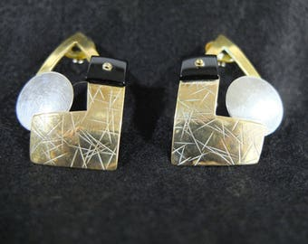 Vintage Brass and Silver Modernist Earrings, attr. Mexican