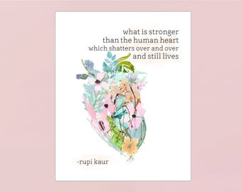 what is stronger than the human heart: Rupi Kaur Poetry Print (Digital Download)