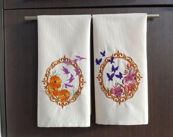 Embroidered Kitchen Tea Towel Set, Flour Sack Towels, Set of 2 Cotton Dish Towels, Floral Towels, Housewarming Gift